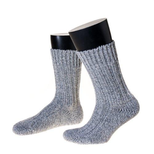 NORDPOL-Strümpfe Schafwollsocken, 100prozent Schurwolle, wie selbstgestrickt. (42-44, graumeliert)