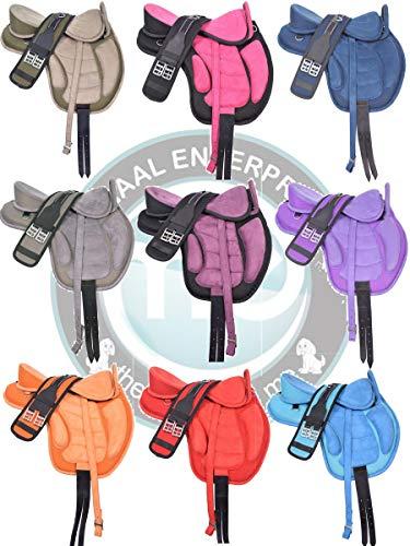 Deen, Enterprises Freemmax - Tincheta para montar de caballo inglés sin árboles, con asa + cintura, correas de cuero, tamaño 30,48 cm (Negro)