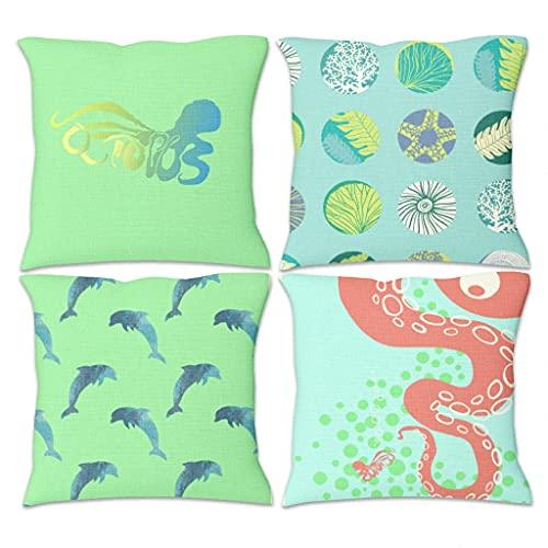 Lymnaraa Juego de 4 fundas de almohada de lino para decoración de dormitorio, fundas de almohada de sofá, silla, 45,7 x 45,7 cm, color blanco