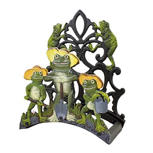 Ferrestock FSKPM004 Portamangueras de Pared Modelo Rana Decorativo Fabricado de Hierro Forjado Pintado a Color con Espacio Suficiente para enrollar una Manguera
