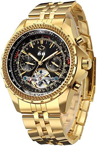 GuTe lussuoso orologio meccanico da polso da uomo, con carica automatica con tourbillon, dorato, con cinturino in acciaio inox, quadrante nero, lancette fluorescenti, funzione di calendario e giorno, datario