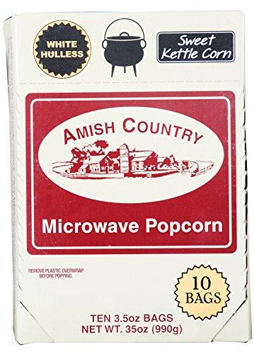 Amish Country Popcorn | Old Fashioned Microwave Popcorn | Old Fashioned with Recipe Guide (Sweet Kettle White Hulless, 10 Bags)