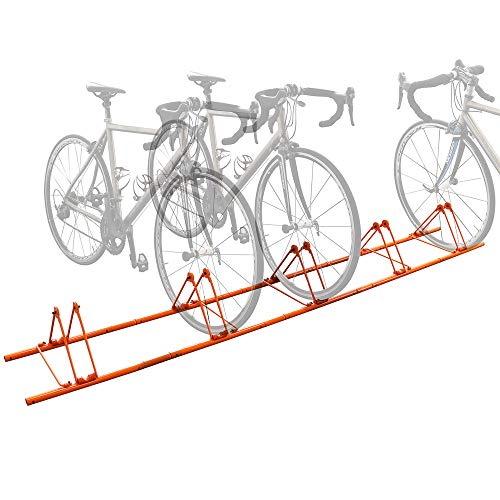 5 Bike Floor Rack Sports Bicycle Storage Stand for 5 Bikes Cycling Floor Parking Rack Cycle Holder Storage Organizer Wheel Holder for Mountain and Road Bike Indoor Outdoor Home Garage Orange (Orange)
