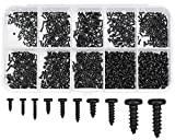 Winfred 1000 Tornillos Autorroscantes para Madera de Cabeza Plana Tornillos Pequeños de Acero Surtido, M1 M1.2 M1.4 M1.7 para Reparación de Gafas Reloj