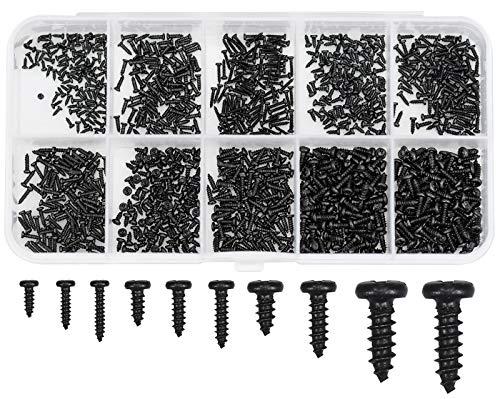 Winfred Schrauben Set, 1000 Stück Kleine Schrauben M1 M1.2 M1.4 M1.7 Computerschrauben Laptop Mikroschraube Set mit Box für Laptop Computer Brillen Uhren Schmuck Reparatur Zubehör (Schwarz)