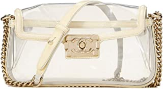 CHANEL Cream & Clear Vinyl Boy Small (Pre-Owned)