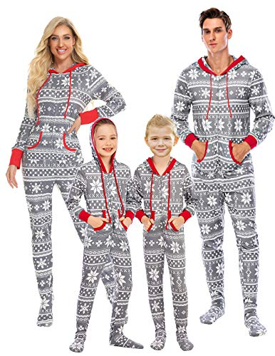 Christmas Onesie Pajamas for Mom and Me Hooded Footie Pjs Jumpsuit with Kangaroo Pockets Snowflake,M Grey