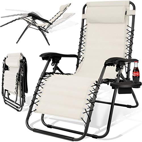 Kesser® - Sonnenliege Liegestuhl Mit Getränkehalter | Verstellbar Rückenlehne | abnehmbares Kopfkissen Kopfpolster| Klappbar | Stahlrahmen | Garten Liege Hochlehner | Gartenstuhl ergonomisch Beige