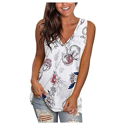 Uqiangy Camiseta sin mangas con cuello en V para mujer, estampado casual, Blanco, 14