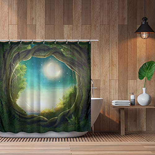Cosmo Supply - Shower Curtain Set - Green Tree Nature Theme - Mystic Enchanted Forest Shower Curtain - Crescent Full Moon - Night Sky Stars - Mystical Fantasy Bathroom Decor - Teal - Cream