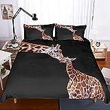 YLKJSTYS Animal Bedding Set 3D Printed Giraffe Mom Kissing Giraffe Baby Duvet Cover Set 3 Piece(1 Duvet Cover 2 Pillow) for Kids Children Boys Girls No Comforter Black(140X200cm/55inch X 78.7inch)