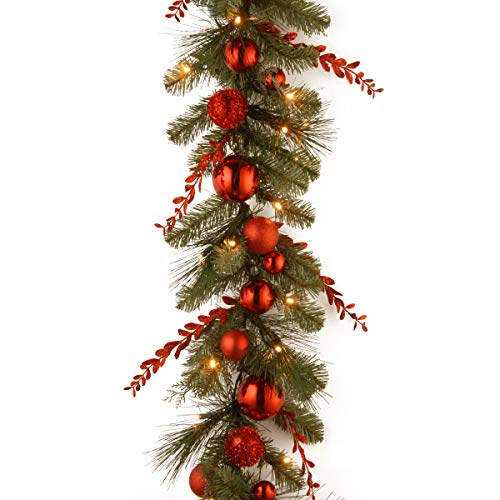 National Tree Company Pre-lit Artificial Christmas Garland Decorative Collection | Flocked with Mixed Decorations and LED Lights | Red Mixed - 9 ft