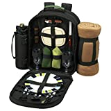 Picnic at Ascot Original Equipped 2 Person Picnic Backpack with Cooler, Insulated Wine Holder & Blanket - Designed & Assembled in the USA