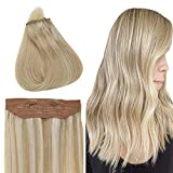 Best Sexybaby Human Hair Extensions - Easyouth Short Halo Hair Color 27P613 Honey Blonde Review