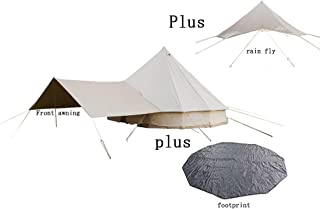 DANCHEL OUTDOOR Cotton Bell Tent with Front Awning Rain Fly and Footprint.