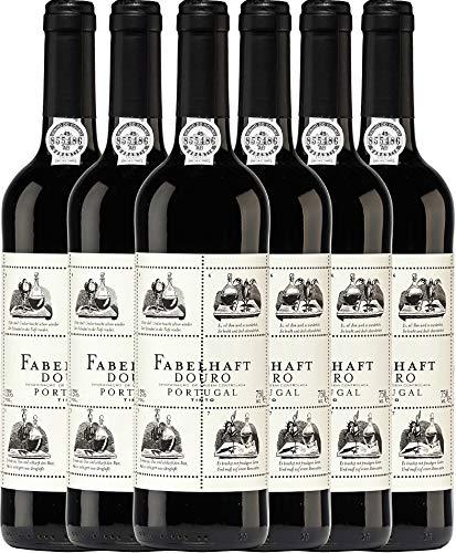 VINELLO 6er Weinpaket Rotwein - Fabelhaft Tinto Douro DOC 2018 - Niepoort mit Weinausgießer | trockener Rotwein | portugiesischer Wein vom Douro | 6 x 0,75 Liter