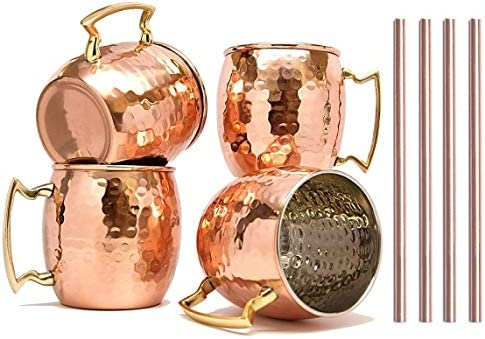 RATNA Moscow Mule Mugs Set of 4 Handcrafted Copper Mug With Straw Pure Solid Stainless steel product image