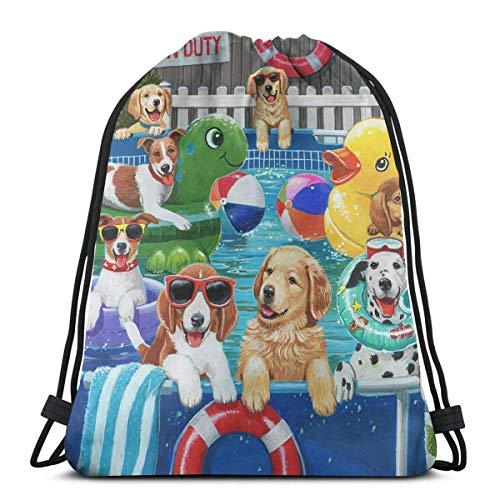 AOOEDM Puppy-Pool-Party-William-Vanderdasson Mochila con cordón Bolsa Sloth Sport Gym Mochila impermeable Hombres Mujeres Bolsa de cincho para viajes Yoga Beach School