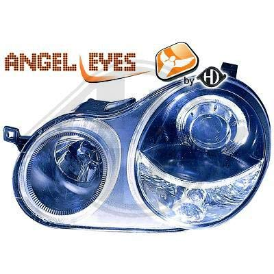 2205480, 1 paar Angel Eyes koplampen, zwart, voor Polo 9N van 2001 tot 2005