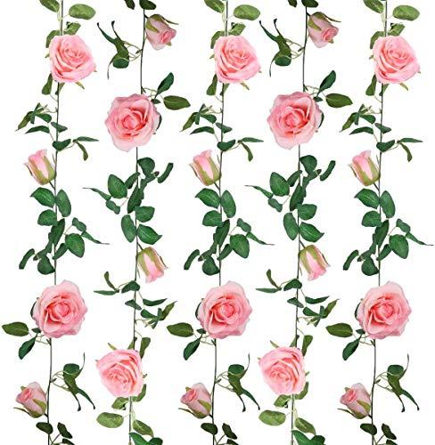 SHACOS Juego de 3 Guirnalda Rosas Artificiales 200cm Flores Vides Flores Falsas Colgando Plantas Hiedra Rosa para Colgar en Bodas Hogar Oficina Arco Decoración - Rosa