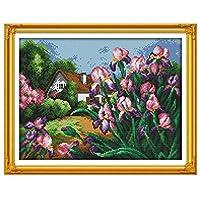 刺繍キットDIY刺繍セット 初心者向け クロスステッチキット 刺しゅうセット き刺繍工具-美しい花47x37cm(フレームレス)