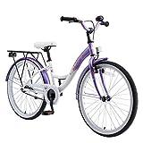 BIKESTAR Bicicleta Infantil para niñas a Partir de 10 años | Bici 24 Pulgadas con Frenos | 24' Edición Clásica Lila Blanco