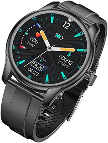Smartwatch da 1,3 pollici con controllo della musica, frequenza cardiaca, contapassi, calorie, impermeabilità IP68, per fitness tracker per iOS e Android, compatibile con Android, Nero, Cinghia