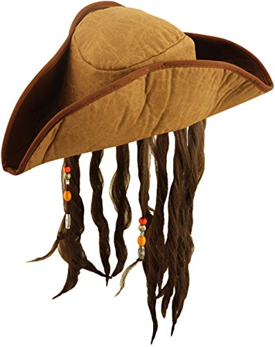 Unisexe Chapeau Pirate Bandana avec poils crâne de pirate Hat Fancy Dress Up
