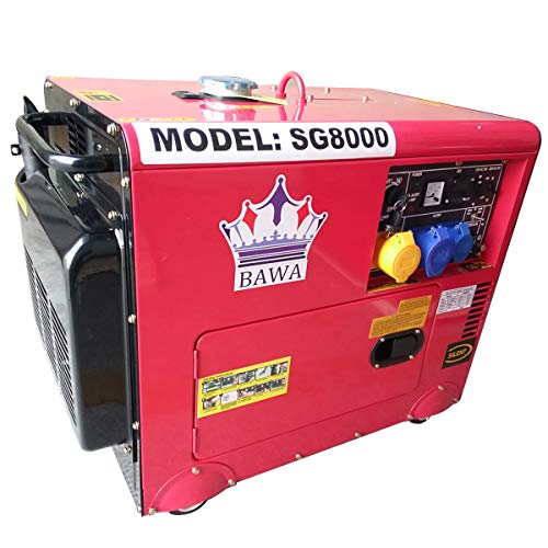 BAWA Tools SILENT 8KVA DIESEL GENERATOR PORTABLE 230V 50Hz SUPER SILENT ELECTRIC START - Free Spare Parts Available - {Model 2020}
