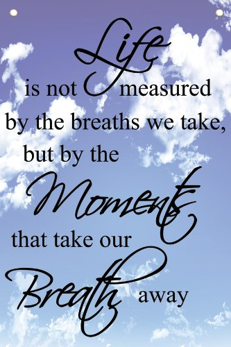 """LIFE IS NOT MEASURED BY THE BREATHS WE TAKE, BUT BY THE MOMENTS THAT TAKE  OUR BREATH AWAY"""" - Wall Quotes Canvas Banner- Buy Online in Cayman Islands  at cayman.desertcart.com. ProductId :"""