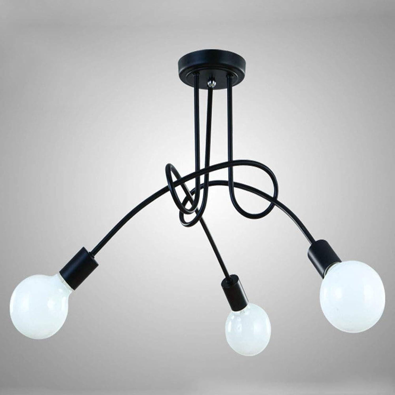 SSLW Metal Pendant Light Chandelier Light for Kitchen Bad Dining Room Bed Room Hallway, schwarz,3Lights