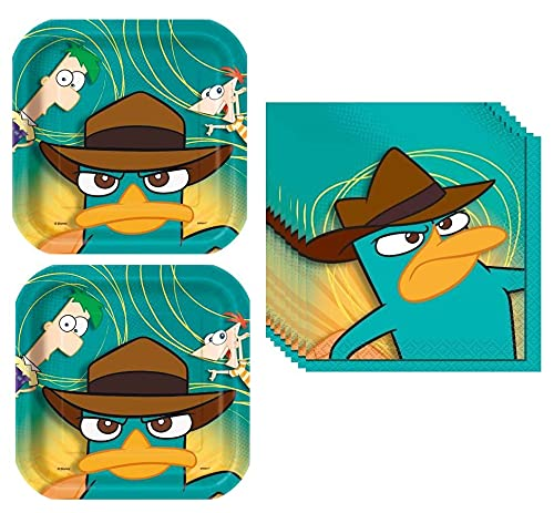 Phineas and Ferb Birthday Party Supplies Bundle for 16 includes Lunch Plates and Napkins