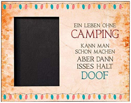 Cadouri Bilderrahmen OHNE CAMPING IST DOOF Fotorahmen mit Campingspruch für Fotos Format 10x15 cm┊tolle Geschenkidee für Camper
