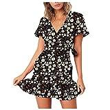 SZITOP Women's Boho Floral Print Dress V-Neck Short Sleeve Ruffle Skirt Summer Casual Dresses for Hoilday Daily(A-Black,Large)