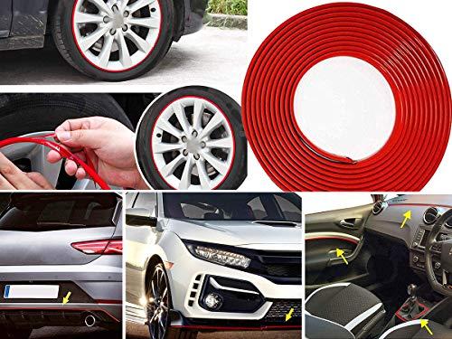 CARALL Profilo Rosso Adesivo Decorativo Per Paraurti Interno Esterno,Striscia Adesiva Per Cerchi Auto Moto,Rotolo da 8 Metri