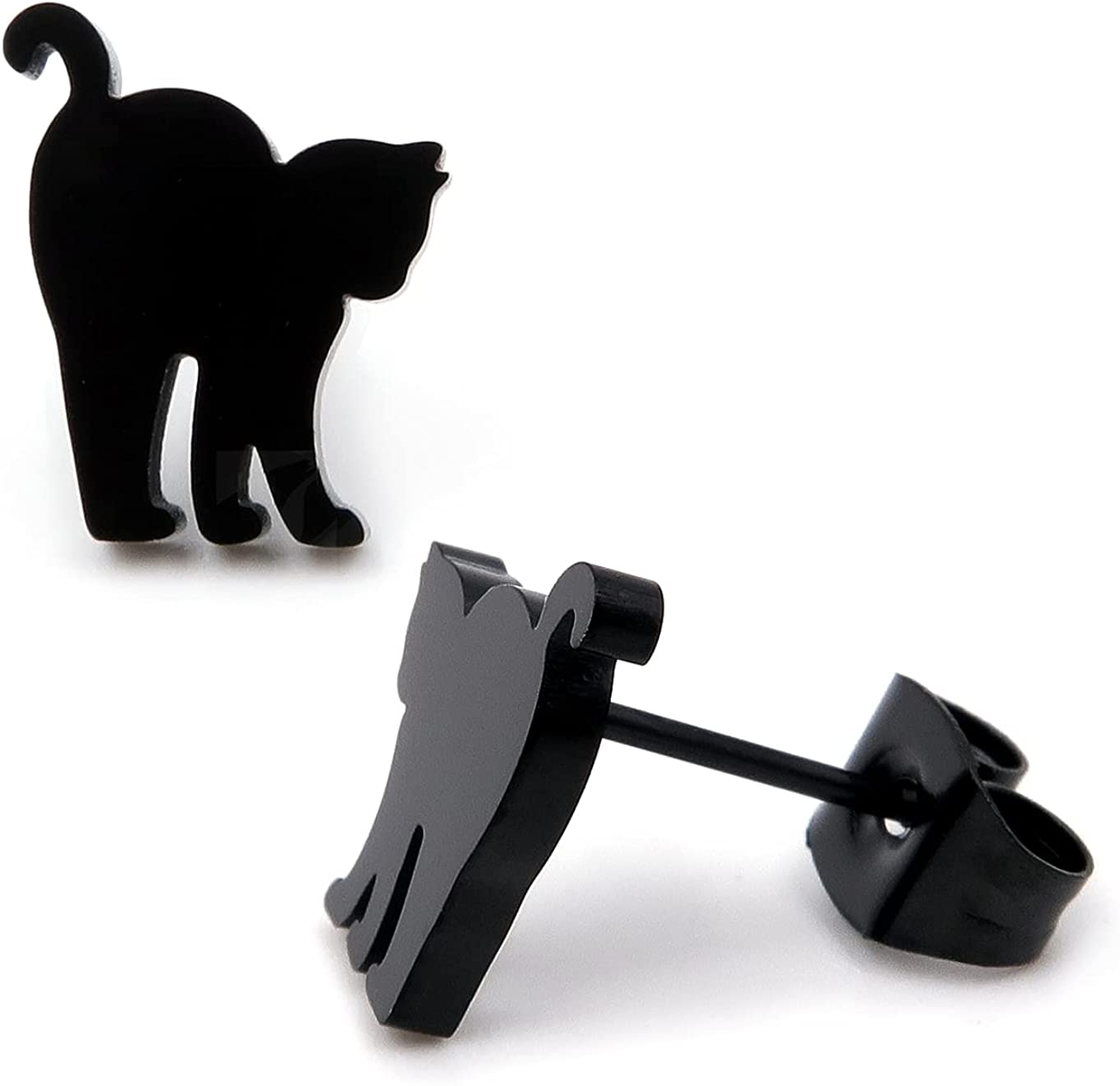 Steelmeup Stainless Steel Cute Black Cat Silhouette Post Stud Earrings Arch Back Cleaning
