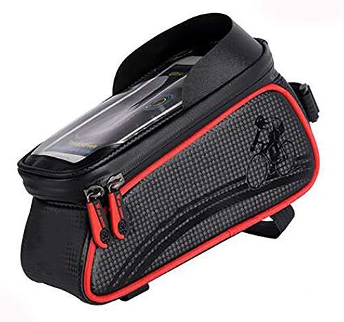 Bike Frame Bag Impermeable bicicleta Bolsa para bicicleta Bolsa de almacenamiento de gran capacidad con orificio para auriculares para cualquier teléfono inteligente de menos Bol-Rojo 20x8.2x10cm