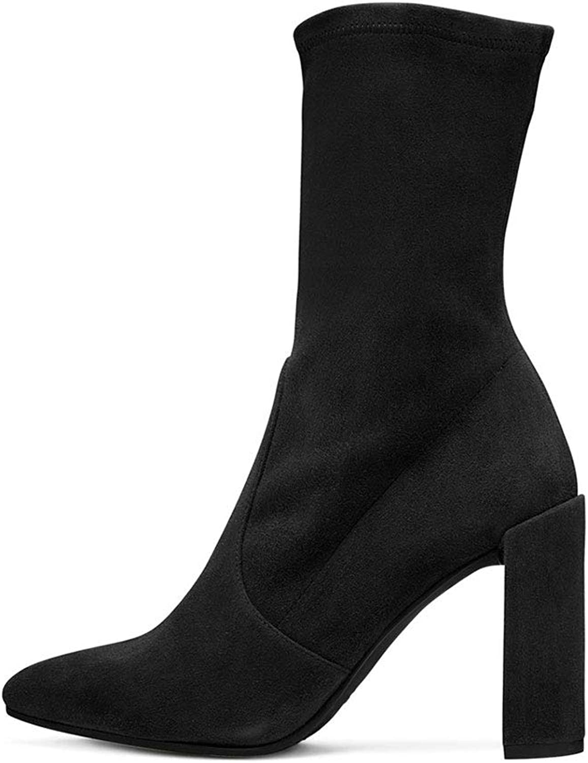 Women's Short Boots with High Heel Ankle Boots Thick Heel Socks Boots Pointed Head Middle Boots Clothing Match with Artificial PU