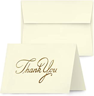Gold Foil Thank You Card | Cream Blank Half Fold for Wedding, Birthday, Baby Shower, Gift & Presents | 3.5 x 4.85 Inches - Folded | 65lb Cover (176gsm) | 25 Cards & Envelopes per Pack