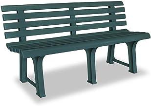 vidaXL Garden Bench Plastic Weather Resistant Slatted Design Outdoor 2-Seater Lounge Seat Deck Chair 145,5cm Patio Furnitu...