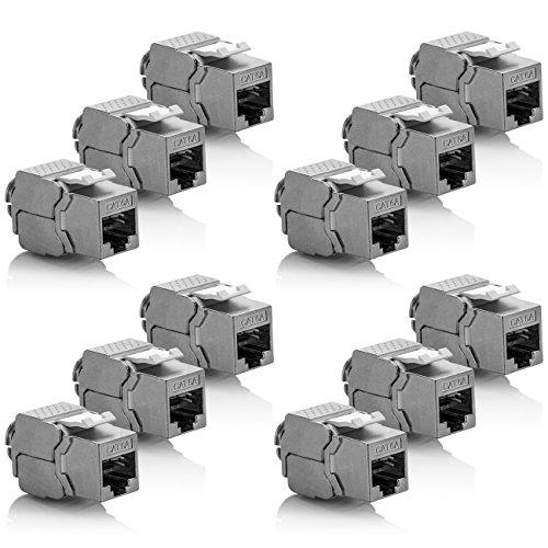 deleyCON 12x Keystone Modul CAT 6a Jack - Vollgeschirmt STP RJ45 Buchse Werkzeugfrei Dank Snap-In Montage CAT Rohkabel 500Mhz 10GBit/s