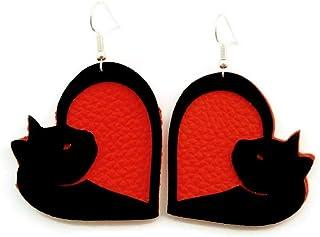 Orange Kitty Cat Vegan Faux Leather Heart Earrings Lightweight for Women and Girls