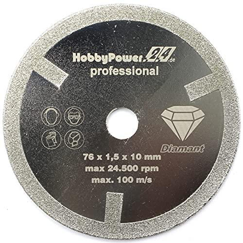 Disco de corte de diamante profesional, diámetro 76 x 10 mm, para amoladora angular con batería Parkside Lidl, PWSA 12-Li, LUX A-WS-12/76, Bosch GWS 10,8 12 V, XCEED, Worx, BTI