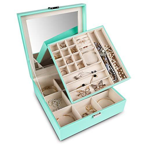 Frebeauty Caja organizadora de joyas de 2 capas, organizador de almacenamiento con cerradura y espejo integrado para joyería de viaje con múltiples compartimentos de regalo para mujeres (turquesa)