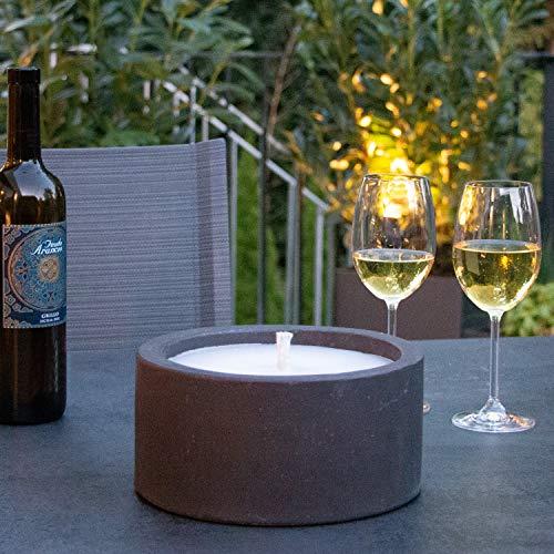 WONEA - Kerze mit 'Dauerdocht' nachfüllbar | 22cm | Wiederbefüllbare Gartenfackel | 'unendliche' Brenndauer durch nachfüllen von Kerzenresten | Outdoor Kerze Fackel Tischfeuer Anthrazit Betonoptik