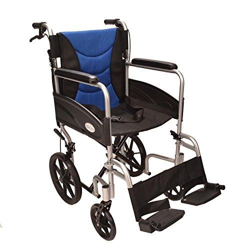 ECTR07 Rollstuhl, leicht, Aluminium, zusammenklappbar, mit Handgriffen zum Bremsen