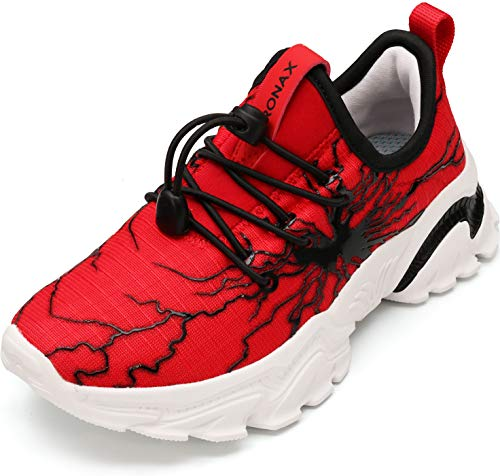 BRONAX Red Tennis Shoes for Boys Gifts Size 1 Sapatos Zapatos para Niños Comfty Light Fashion No Tie Boys Athletic Casual Walking Running Sneakers Red