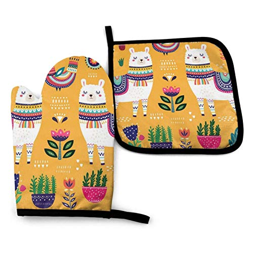Oven Gloves and Pot Holders Sets,Farm Animals Cow Heat Resistant Oven Mitts Waterproof Non-Slip for BBQ Cooking Baking Grilling