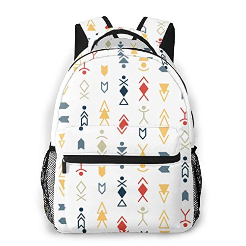 Lawenp School Backpacks Tribal Pattern Background for Teen Girls&Boys 16 Inch Student Bookbags Laptop Casual Rucksack