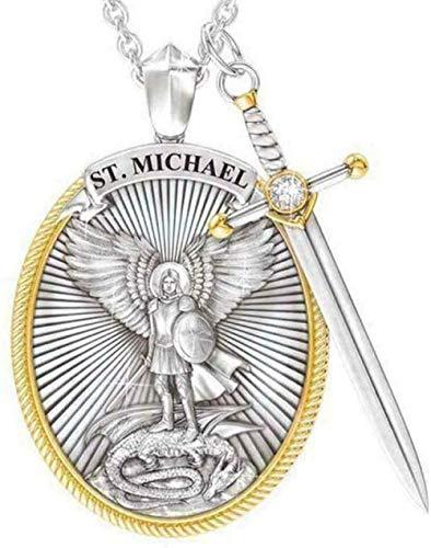Arcángel San Miguel collar de plata de ley, diseño de espada divina Senhield de protección con colgante para hombre y mujer